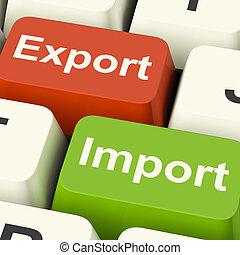 comercio, llaves, comercio global, exportación, importación, internacional, o, exposiciones