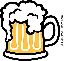 Comic de taza de cerveza con espuma