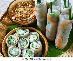 comida de ensalada, cuon, vietnamita, rollo, goi