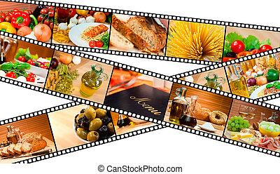 comida de ensalada, menú, montaje, tira, pastas, película, bread