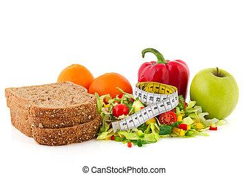 Comida dietética con cinta adhesiva