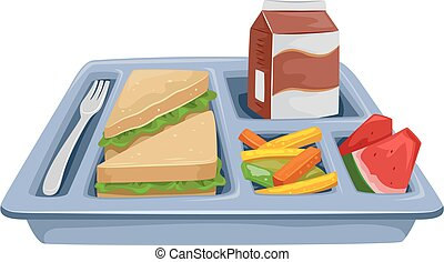 comida, dieta, bandeja, almuerzo
