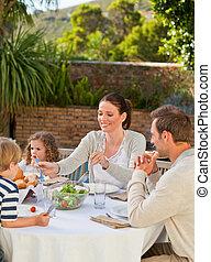 comida, familia , jardín