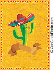 Comida mexicana cactus sobre fondo grunge