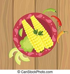 Comida mexicana con mazorca y pimienta chile