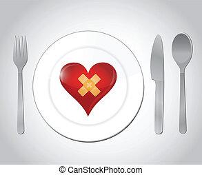 Comida para una ilustración del concepto de corazón roto