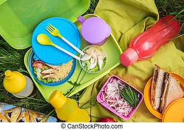 Comida picnic al aire libre