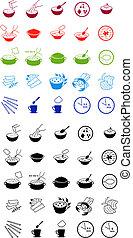 Comida rápida para cocinar iconos