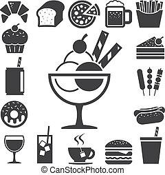 Comida rápida y un icono de postre.