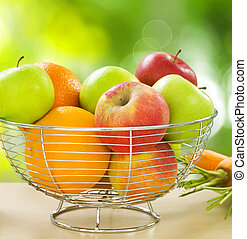 Comida sana. Frutas orgánicas y verduras