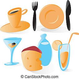 Comida suave y bebe iconos