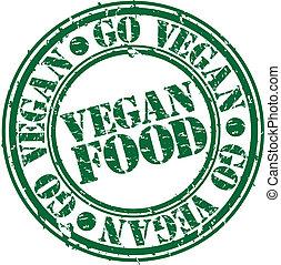 Comida vegetariana, sello de goma, vec