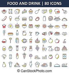 Comida y bebida iconos planos