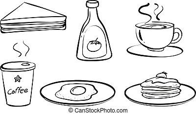 Comida y bebidas para el desayuno