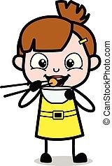 Comiendo comida con palillos, ilustración de personajes de dibujos de chicas lindas