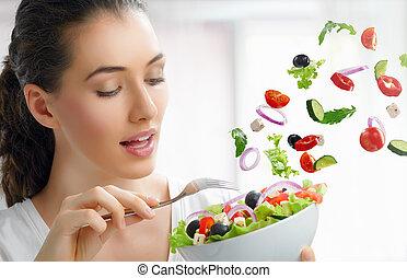 Comiendo comida sana