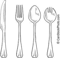 Comiendo un boceto de utensilios