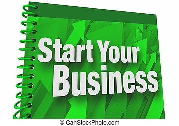 Comienza tu libro de negocios manual de instrucciones, nuevo empresario empresarial 3D ilustración