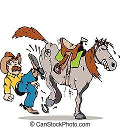 comienzo, caballo, patada