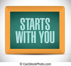 comienzos, usted, diseño, mensaje, ilustración