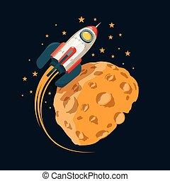como, planeta, cohete, luna, órbitas, espacio