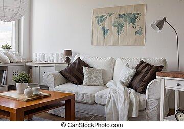 Comodo sofá doble blanco