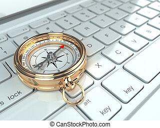 compás, computador portatil, en línea, keyboard., navigation.