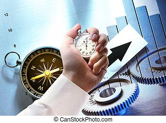 Compás, diagrama, rueda densa y cronómetro de mano
