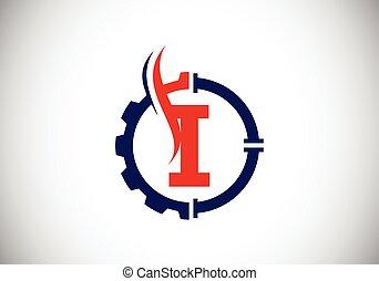 compañía, identidad, fuente, concept., engranaje, flame., moderno, petróleo, aceite, logotipo, tubo, vector, empresa / negocio, inicial, monogram, emblem., alfabeto, gas