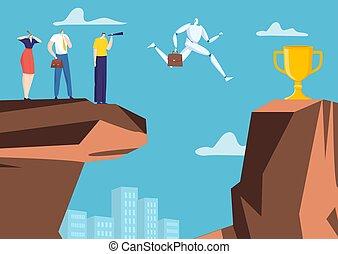 compañía, roca, taza, plano, robot, artificial, saltar, victoria, inteligencia, oficina, carácter, illustration., hombre de negocios, vector, abismo, algorithm