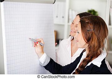 Compañeros de negocios que van a un seminario