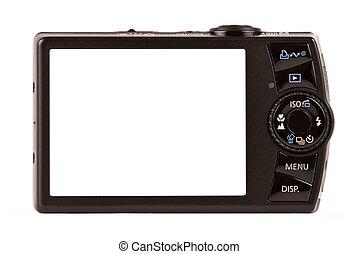 compacto, aislado, cámara, digital, blanco, vista trasera