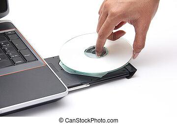 compacto, colocación, unidad, persona, disco, cdrom