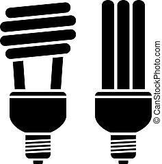 compacto, fluorescente, vector, bombillas