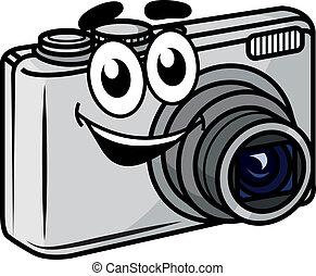compacto, lindo, poco, cámara, caricatura