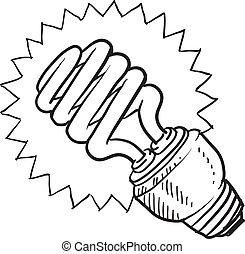 compacto, luz fluorescente, bombilla