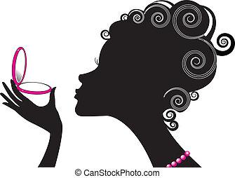 compacto, mujer, .make, potencia, cosmetic., arriba, retrato