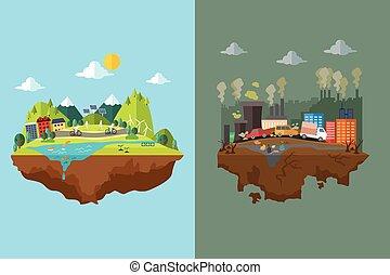 comparación, contaminado, limpio, ciudad