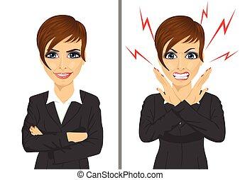 comparación, mujer de negocios, enojado, mismo, entre, expresiones, feliz