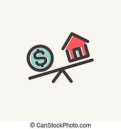 comparar, intercambio, dinero, delgado, hogar, línea, o, icono