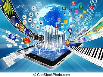 compartir, concepto, multimedia, internet