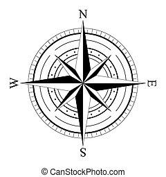 compas, rosa, viento