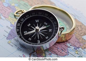 Compas sobre el mapa mundial