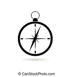 Compass vector negro silueta