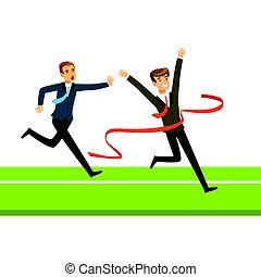 Competencia de empresarios, dos hombres de negocios cruzando la línea de meta vector de ilustración