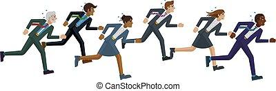 competición, concepto, empresarios, carrera, corriente