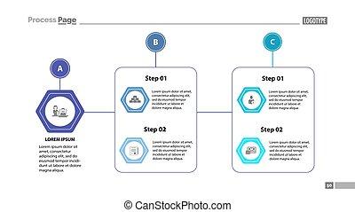 complejo, gráfico, diapositiva, proceso, plantilla