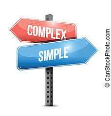 complejo, simple, diseño, ilustración, señal