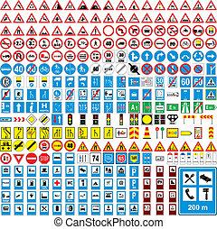 completamente, europeo, tráfico, vector, editable, tres, cien, señales