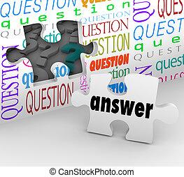 completo, pared, rompecabezas, pregunta, comprensión, respuesta, pedazo
